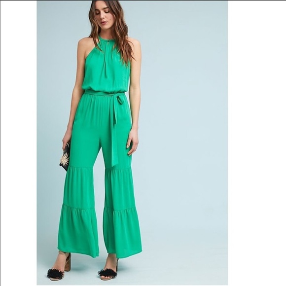 3e8e2ed9b5 Anthropologie Green Tiered Wide Leg Jumpsuit